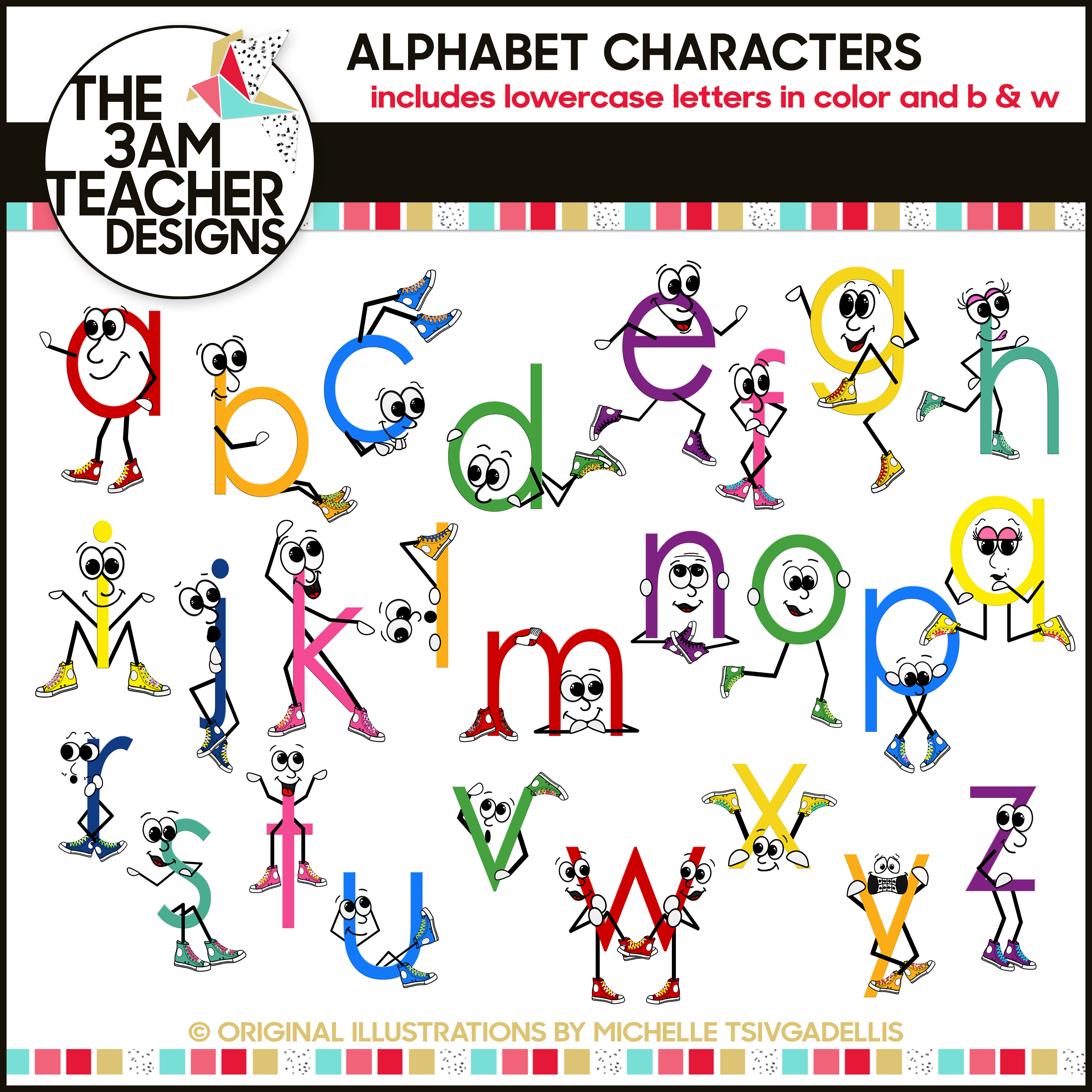 lowercase letters with character clip art set by the 3am teacher