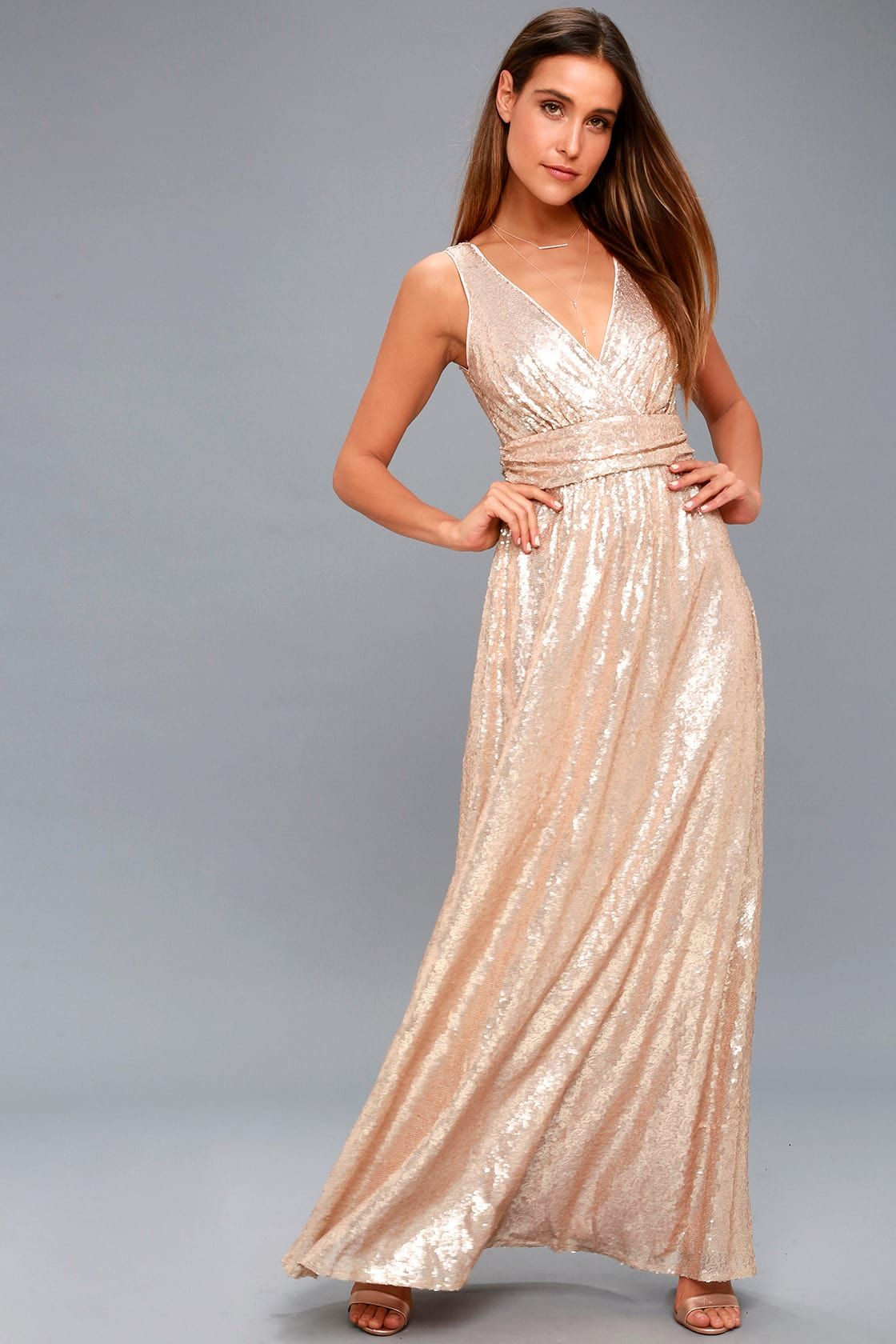 Fan Favorite Matte Rose Gold Sequin Maxi Dress Maxi Dress Womens Formal Gowns Sparkly Dress [ 1680 x 1120 Pixel ]