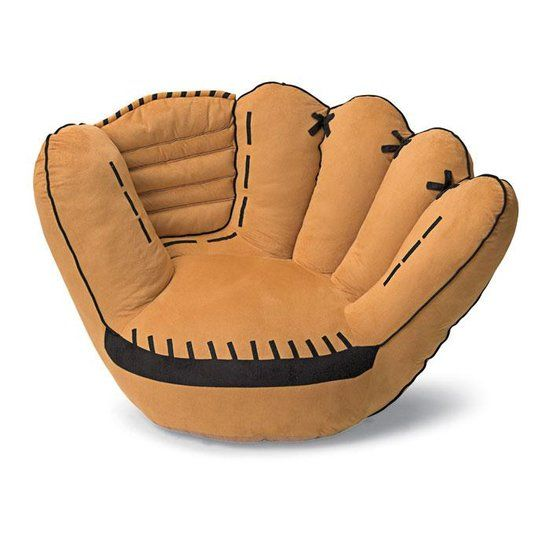 Baseball glove sofa chair great for reading for kids Baseball sofa