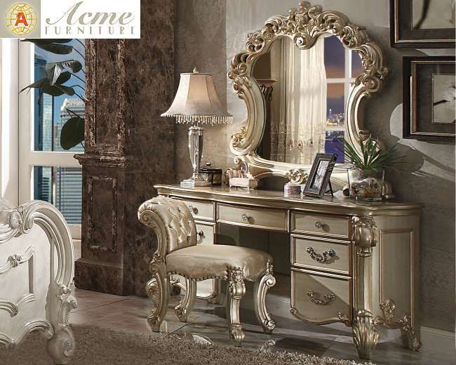 Vendome Gold Patina 3-Piece Vanity Set Featuring Exquisite Design & Elegant Carvings | Luther Appliance and Furniture
