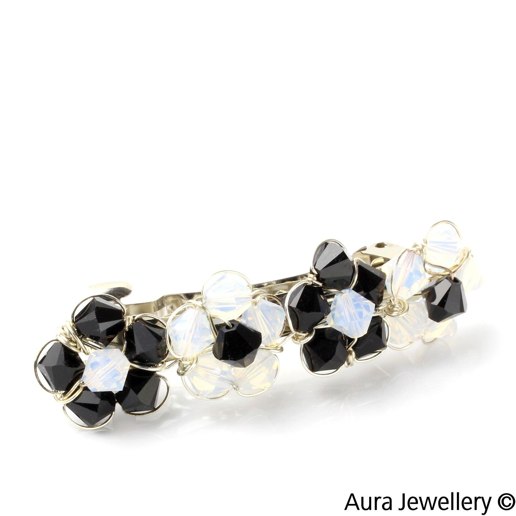 Black White Handcrafted Swarovski Crystal Floral Hair Barrette Slide