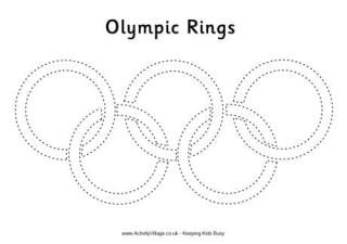 Olympic Rings Tracing Page and other coloring sheets