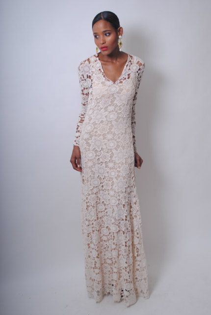 Vintage Inspired Ivory Lace Crochet Sheer Simple Wedding Maxi Dress Gown Floor Length Boho