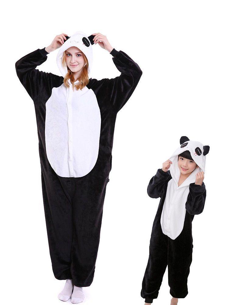 Animated kigurimi one piece pajamas panda unisex warm wear