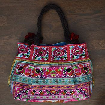 Blue and Pink Hmong Tribe Embroidered Bag