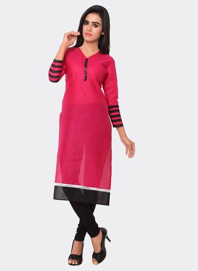 c38f1749d4 Buy Shopeezo Daily Wear Pink Color Cotton Unstiched voonik Kurti ...