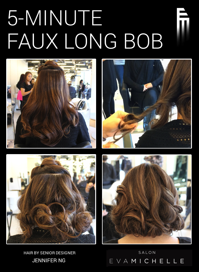 Senior Designer Jen Shows You How To Transform Your Long Hair In This Faux Bob Tutorial 1 Start With Curled Hair In 2020 Fake Short Hair Long Hair Styles Faux Bob