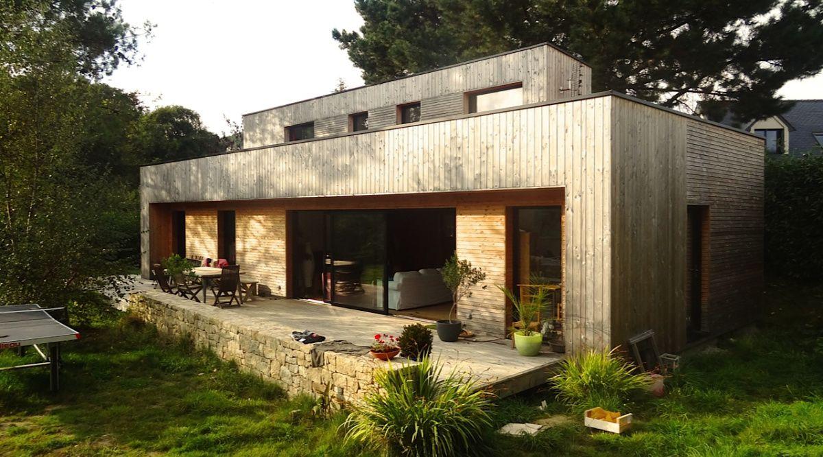 une belle maison contemporaine en bois maison cologique douarnenez et finist re. Black Bedroom Furniture Sets. Home Design Ideas