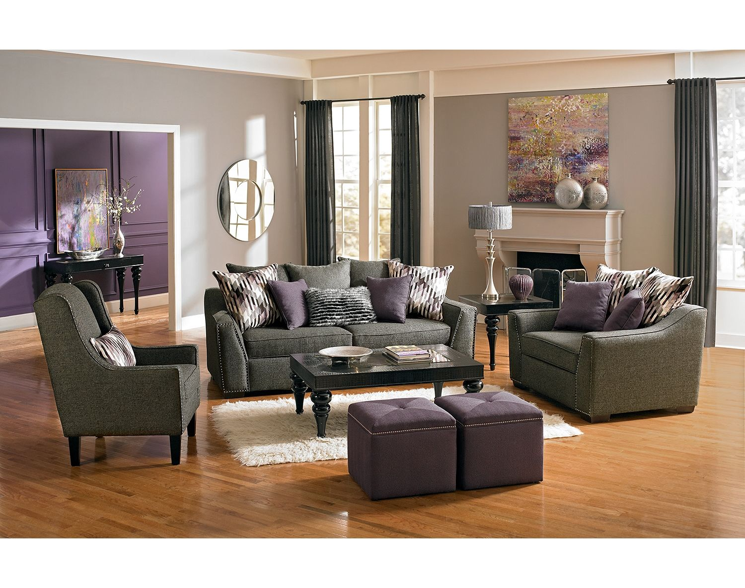 The Ritz Collection Gray American Signature Furniture Purple Living Room Purple Living Room Furniture Living Room Grey