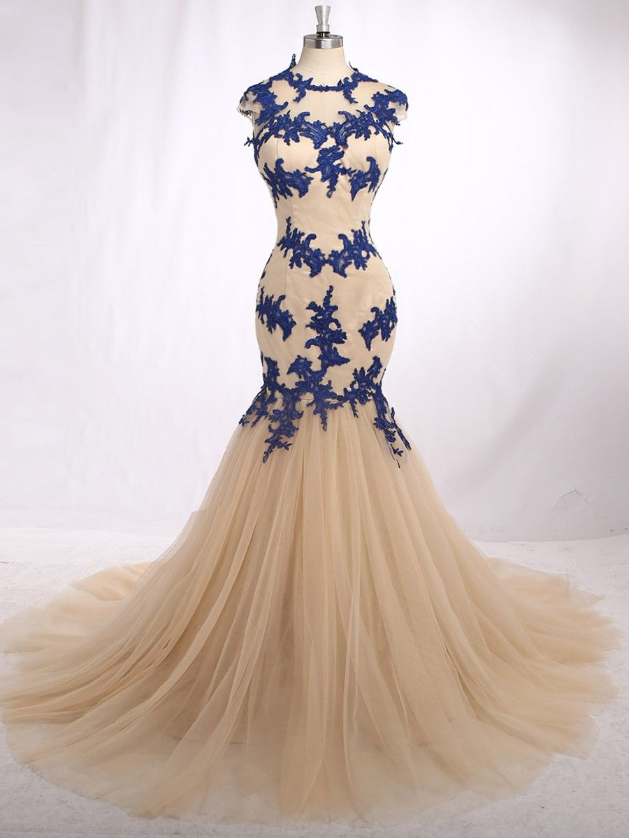 Tradition Style Long Prom Elegant Jewel Neck Capped Sleeve Sweep
