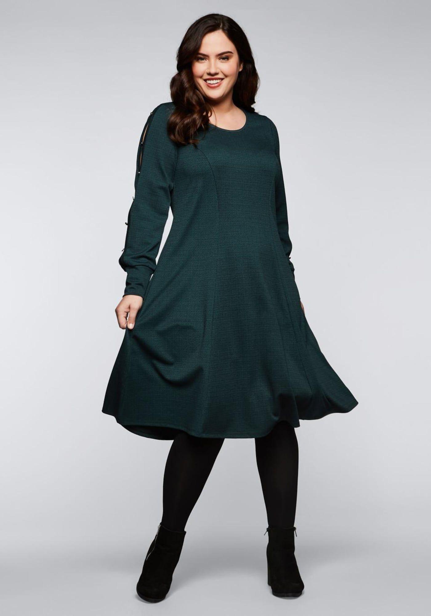 SHEEGO Kleid Damen, Smaragd, Größe 14  Karokleid, Taillierte