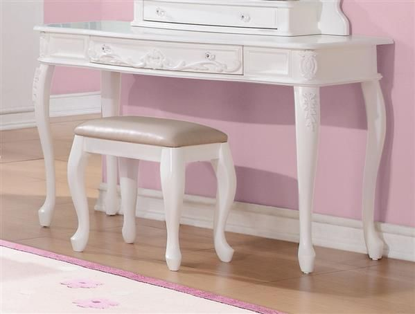 caroline white wood rectangle vanity desk bedroom vanities rh pinterest com