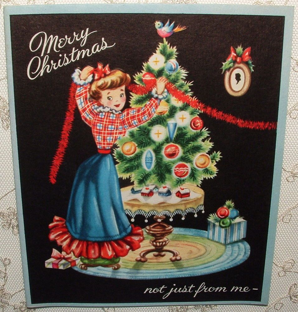 Old Fashioned Couple Decorating Tree 1950s Vintage Christmas