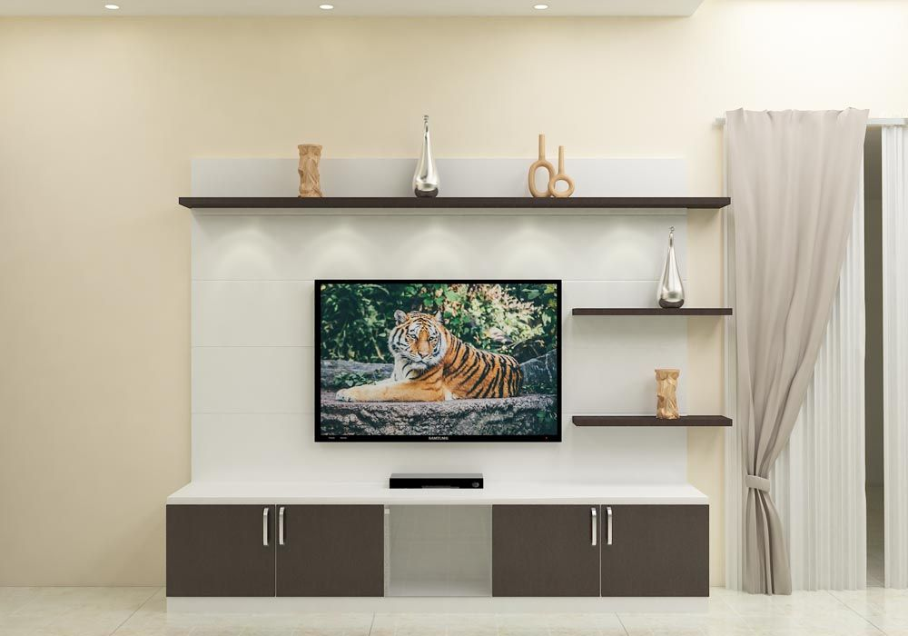 Tv Stand Designs Hyderabad : Modular tv unit with storage cabinets racks and back