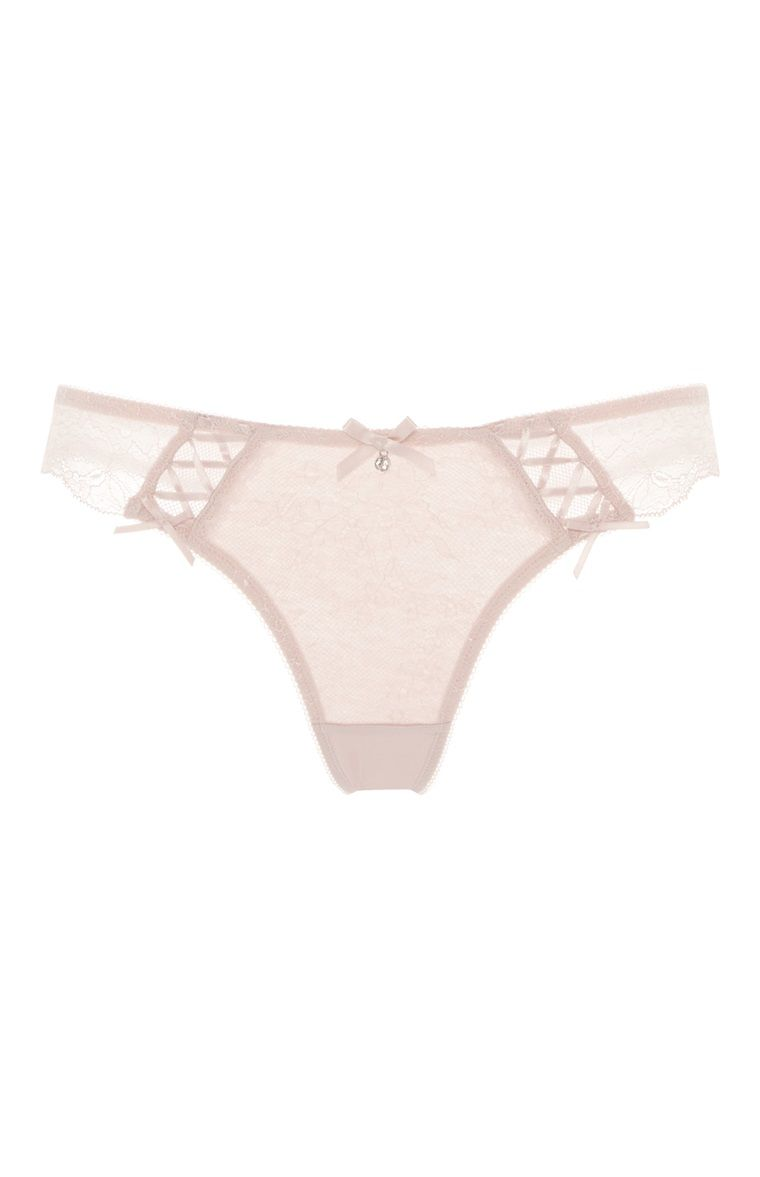 Lace Thongs Knickers Women/'s Blush Soft Panties String Large Primark