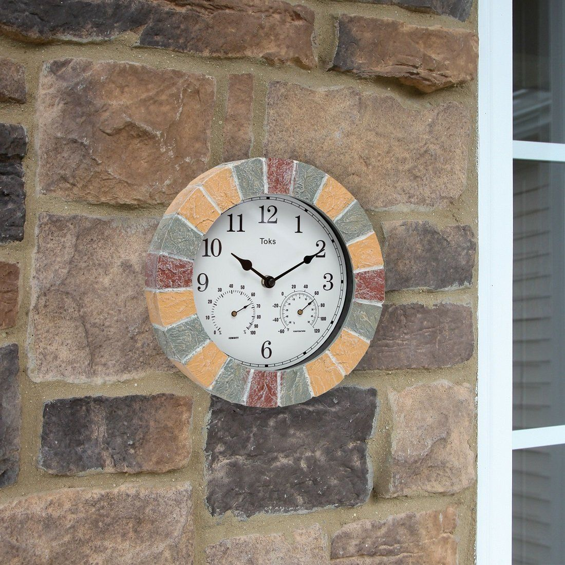 Wall Clock Includes A Thermometer And Hygrometer And Is Ideal For Indoor And Outdoor Wall Clock Clock Faux Stone