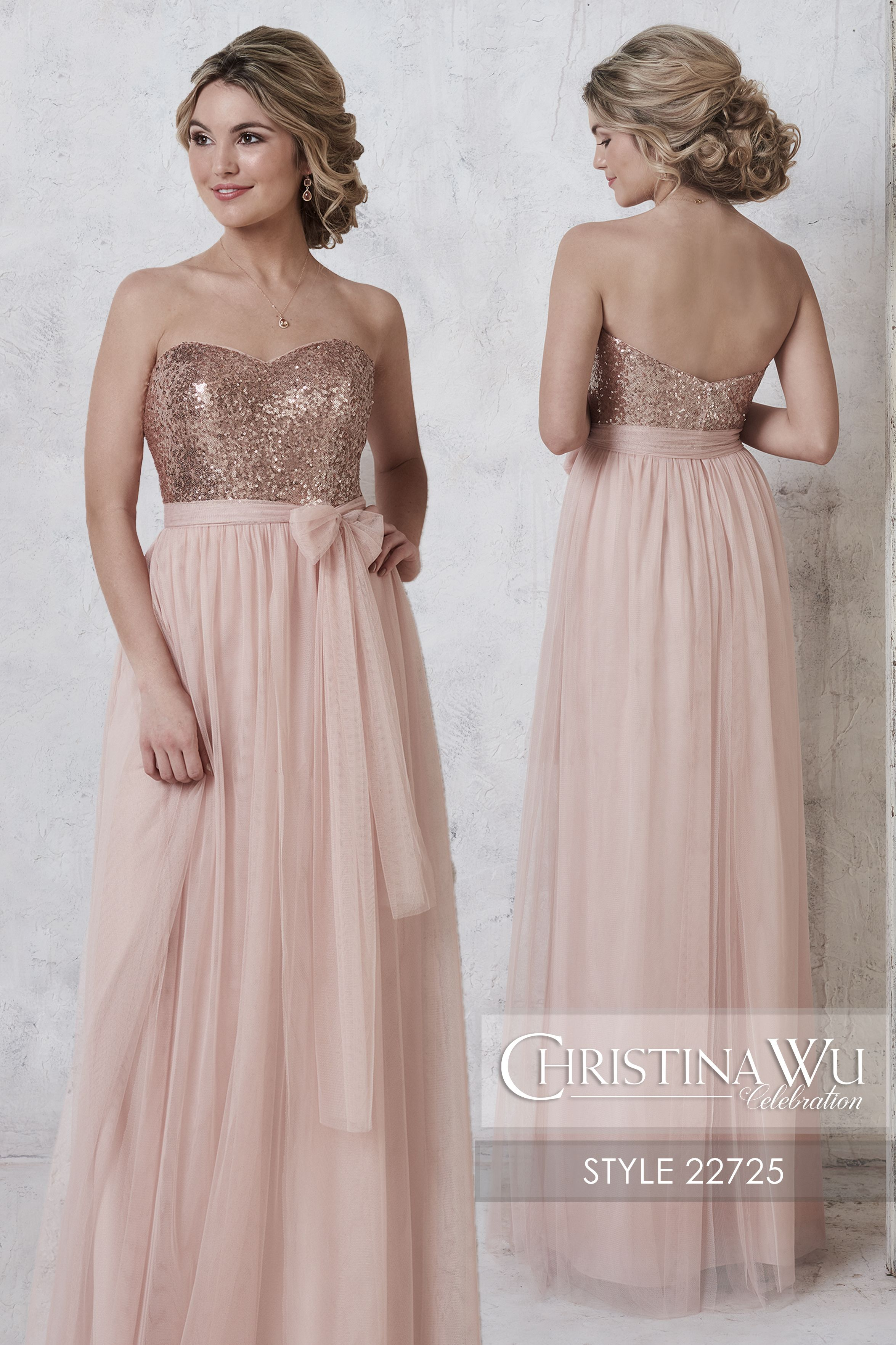 #ChristinaWuCelebration Style 22725 This elegant bridesmaid gown shows off  a fully sequined bodice with a sweetheart neckline.