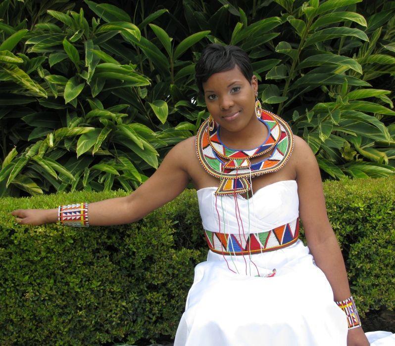 Kenyan Bridal Dress By TeKay Designs With Maasai Necklaces