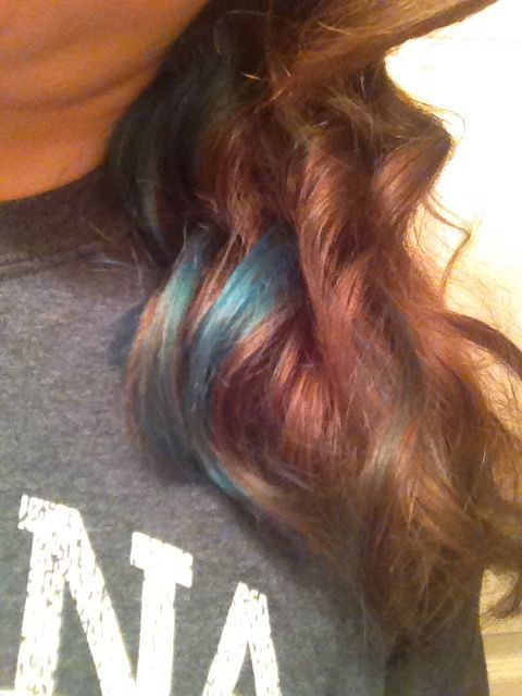 Just a hint of blue. Bottom half of hair dyed blue, brushed-out ...