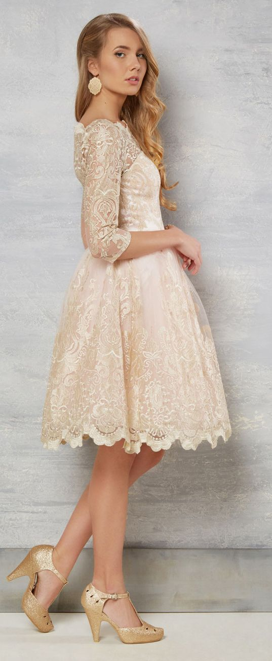 0c601399080  169.29-Country Style Knee-Length Lace Short Champagne Wedding Dress With  Sleeves. http