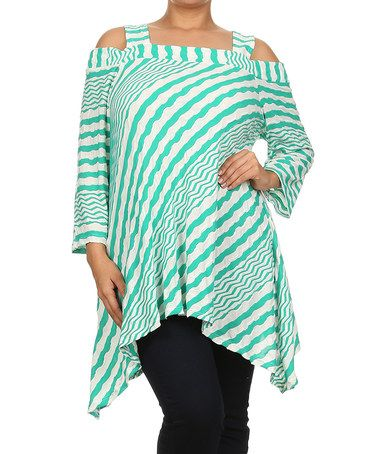 Look what I found on #zulily! White & Green Zigzag Cutout Tunic - Plus by Come N See #zulilyfinds