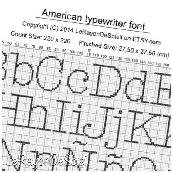 Cross stitch pattern font American typewriter alphabet, PDF
