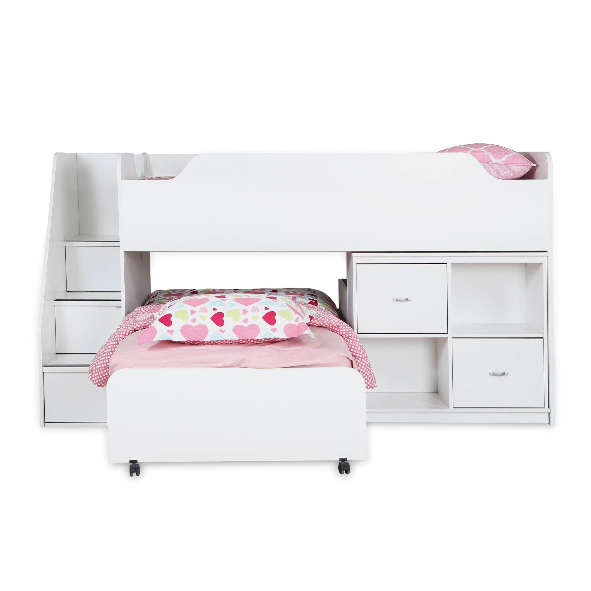 Mobby loft bed with stairs  South Shore Mobby Twin Loft Bed with Trundle and Storage Unit Pure