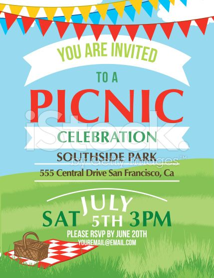 Summer picnic and bbq invitation flyer or template text is on its cartoon summer picnic invitation template royalty free stock vector art stopboris Choice Image