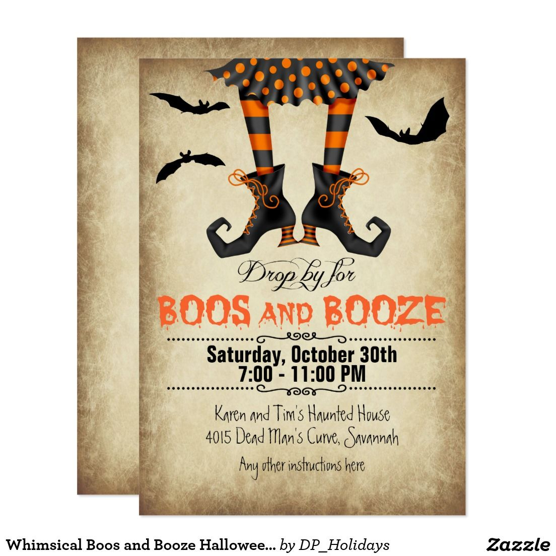Whimsical Boos and Booze Halloween Party Card | Invitations ...