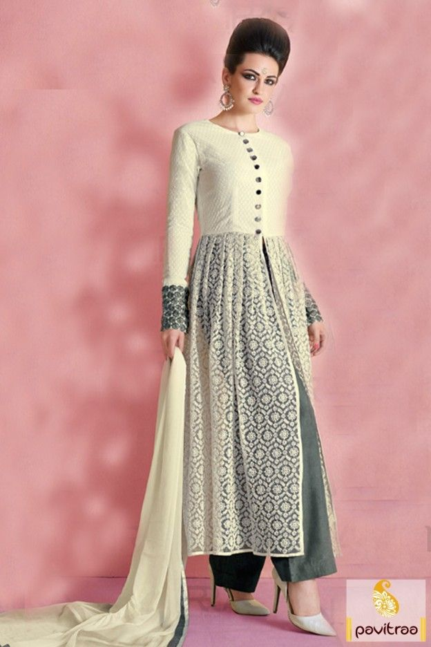 Grey and Cream Color Designer Anarkali Dress #anarkalistylestraightsalwarsuit #eveninganarkalisuits #designeranarkali #partywearanarkali #weddinganarkali More: http://www.pavitraa.in/store/anarkali-salwar-suit/?utm_source=hp&utm_medium=pinterestpost&utm_campaign=22july