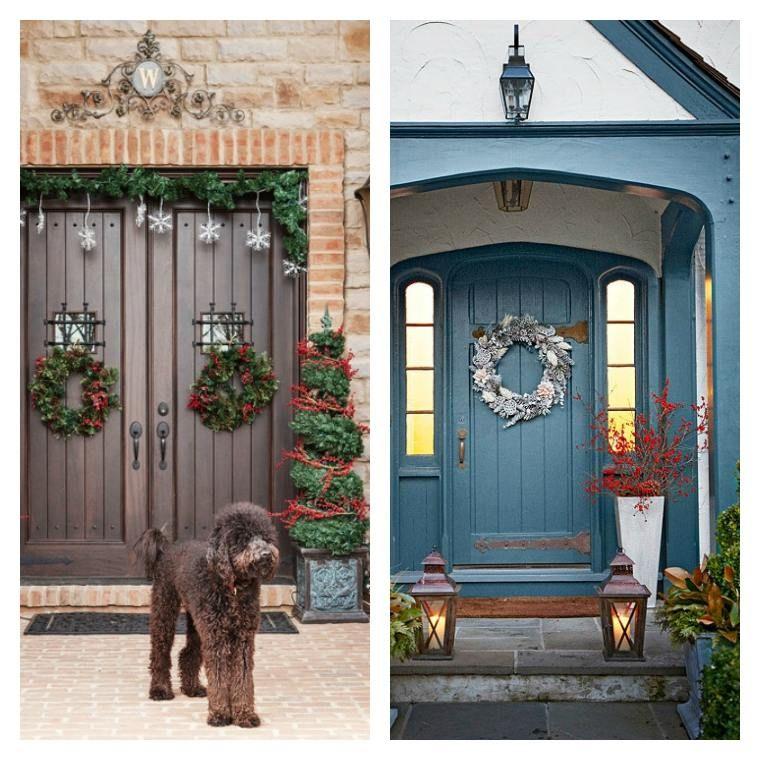 50 idées de décoration de porte du0027entrée de Noël - decoration portes d interieur