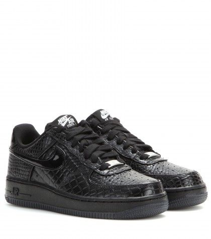 """Sneaker Nike Air Force 1 '07 Premium"" ""Sneaker nere in pelle stampata By Nike"" found on Styletorch"