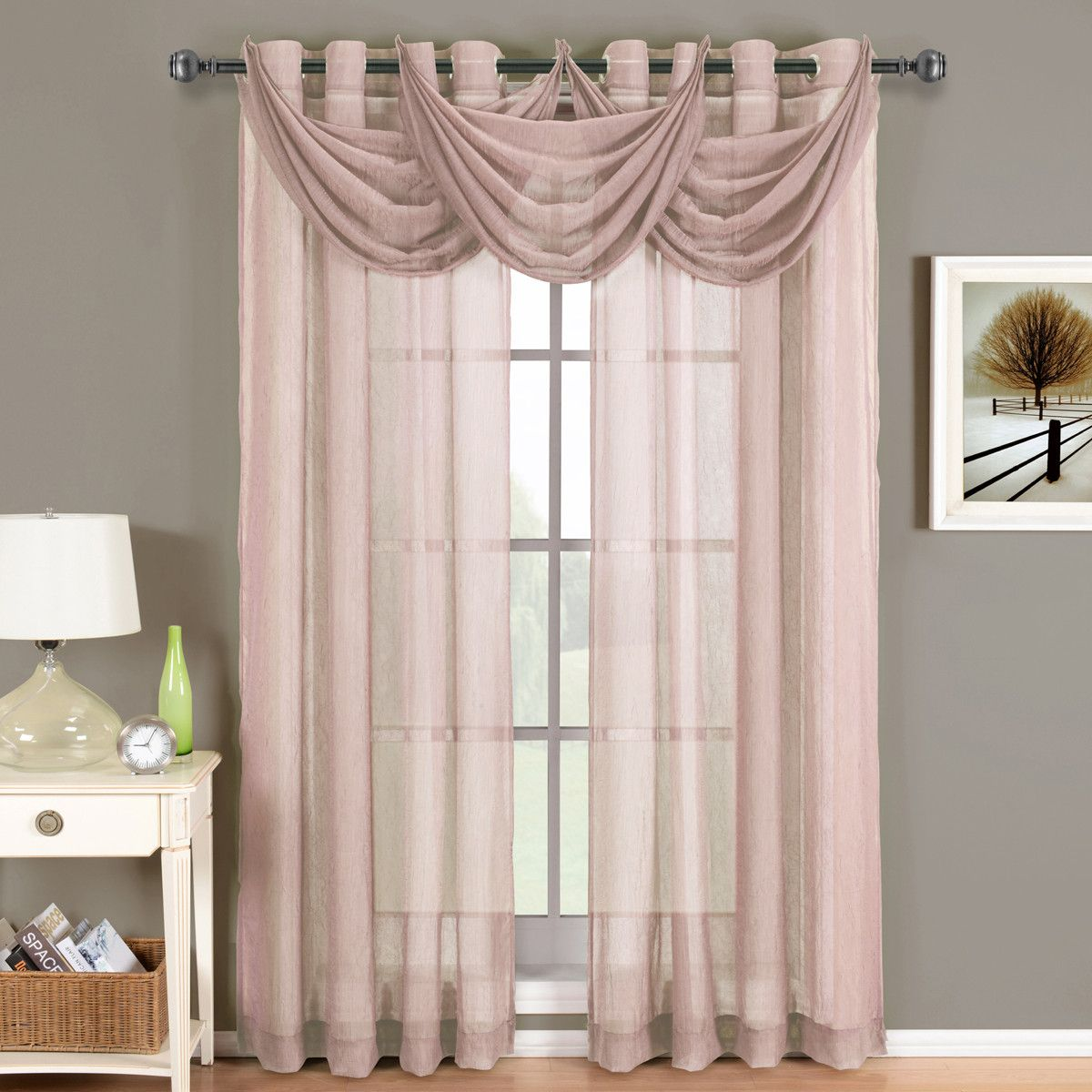 Abri Mauve Grommet Crushed Sheer Curtain Panel Sheer Curtain