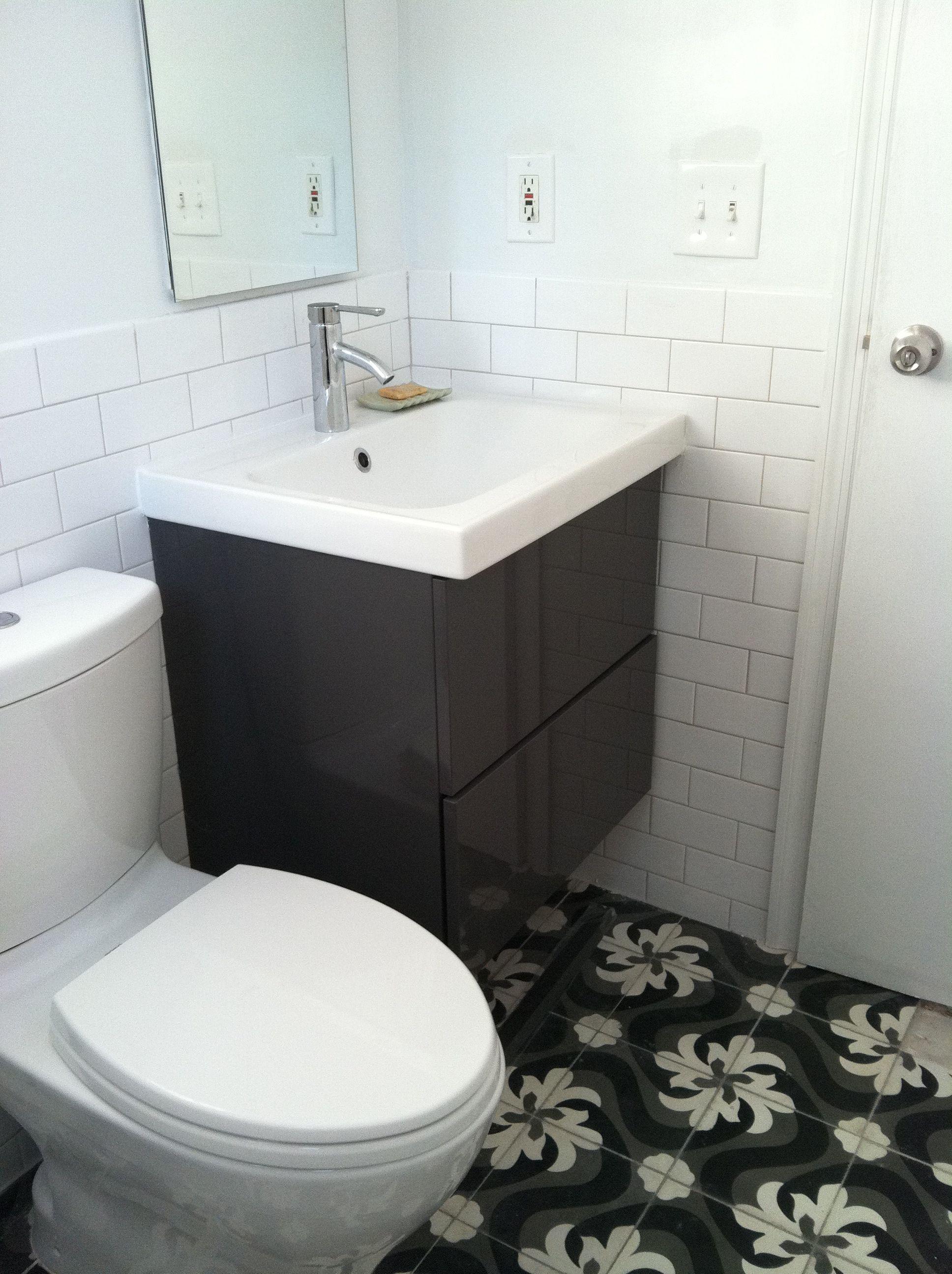 Ikea Godmorgon Vanity Interesting Floor Tiles Harlem Bathroom