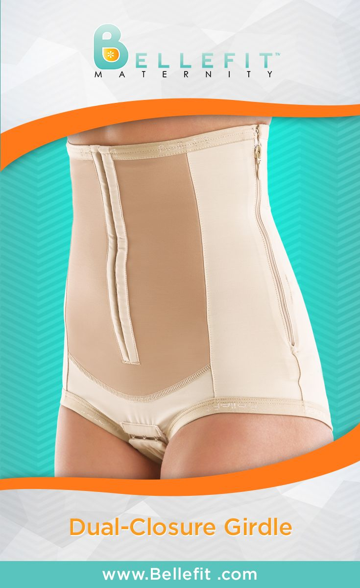 The Bellefit Dual-Closure Girdle can be used after a C-section or Natural birth. It combines the closure methods of the Corset and the Girdle with Zipper. The dual-closure girdle has the hooks in the front and the lateral zipper. This girdle is preferred by many Moms who are seeking the highest level of flexibility and adjustability throughout the postpartum recovery process.