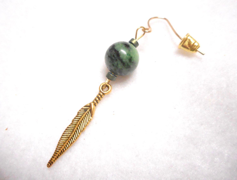 Men's Earring, Man's Earring, Single Earring, Feather Earring, Stone Earring,  Men's Jewelry, Earring For Man, Rocker Earring, Masculine