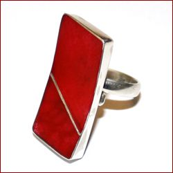 Red Coral & Silver Rectangle Ring from Jewellery Art