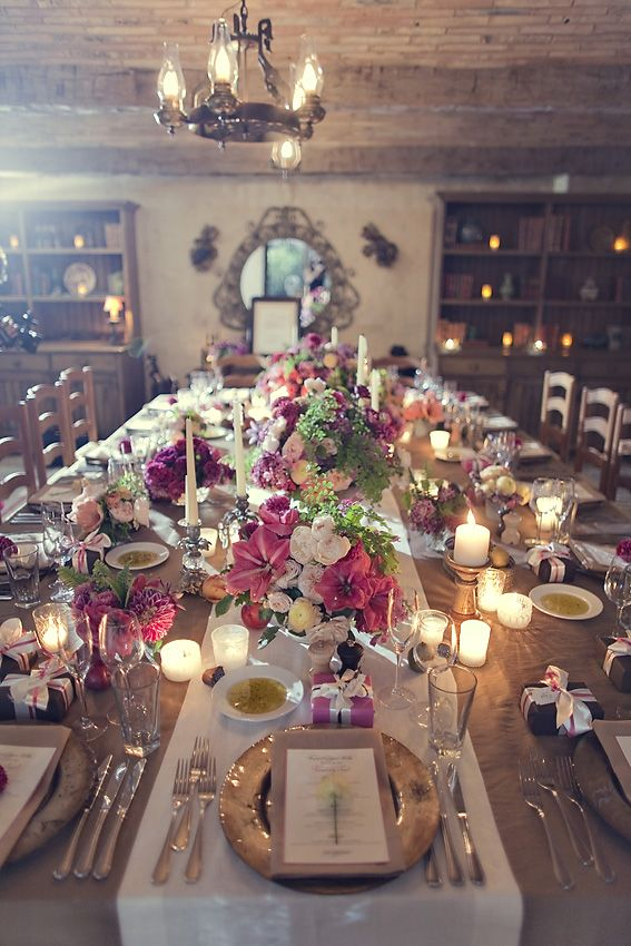 Cozy and Beautiful Cabin Dinner- I love maiden hair fern.