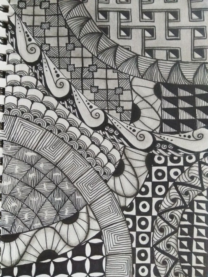 Zentangle Patterns Doodle Art By A Reed Doodle Art Zen