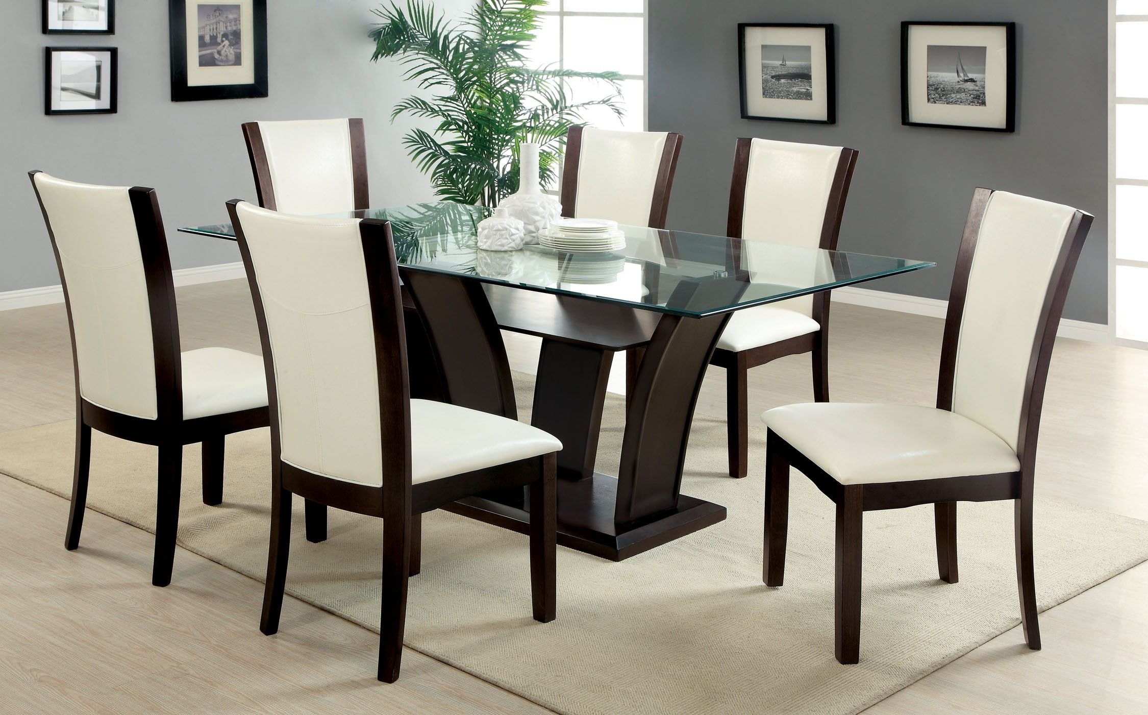 Glass Dining Table Set 6 Chairs Glass Dining Room Table