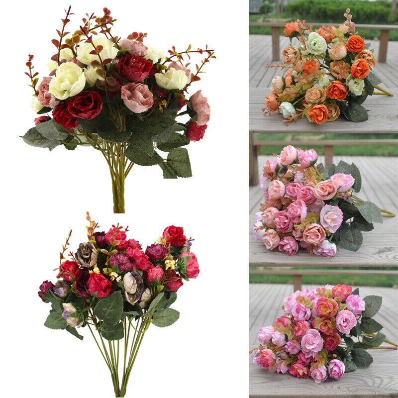 2pcs Artificial Peony Silk Flowers Leaf Bouquet Home Floral Wedding Garden Decor