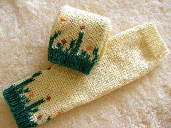 Boho Vingerloze handschoenen - verkoop - geel brei Vingerloze handschoenen geborduurd - Boheemse handschoenen - handgemaakte cadeau voor haar