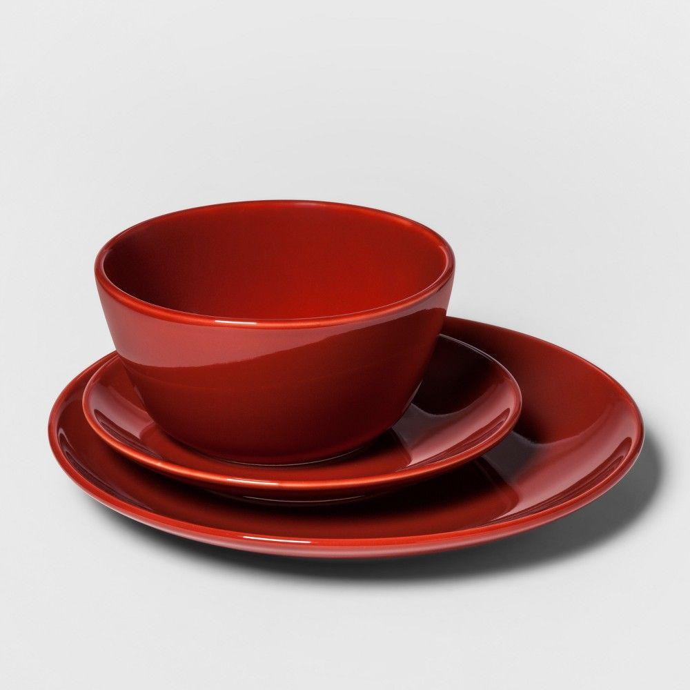 12pc Avesta Stoneware Dinnerware Set Red - Project 62 , Orange #casualdinnerware