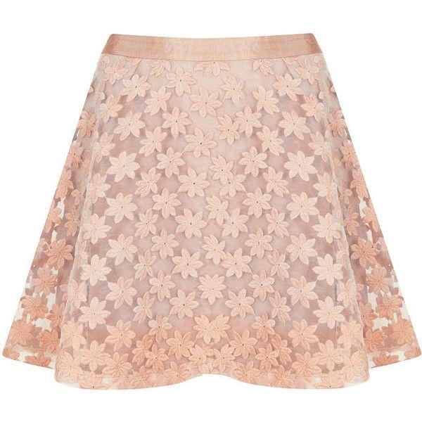 TOPSHOP Embroidered Flower Skater Skirt ($40) ❤ liked on Polyvore featuring skirts, faldas, bottoms, dresses, saias, blush, flared skater skirt, circle skirt, pink circle skirt and pink skater skirt