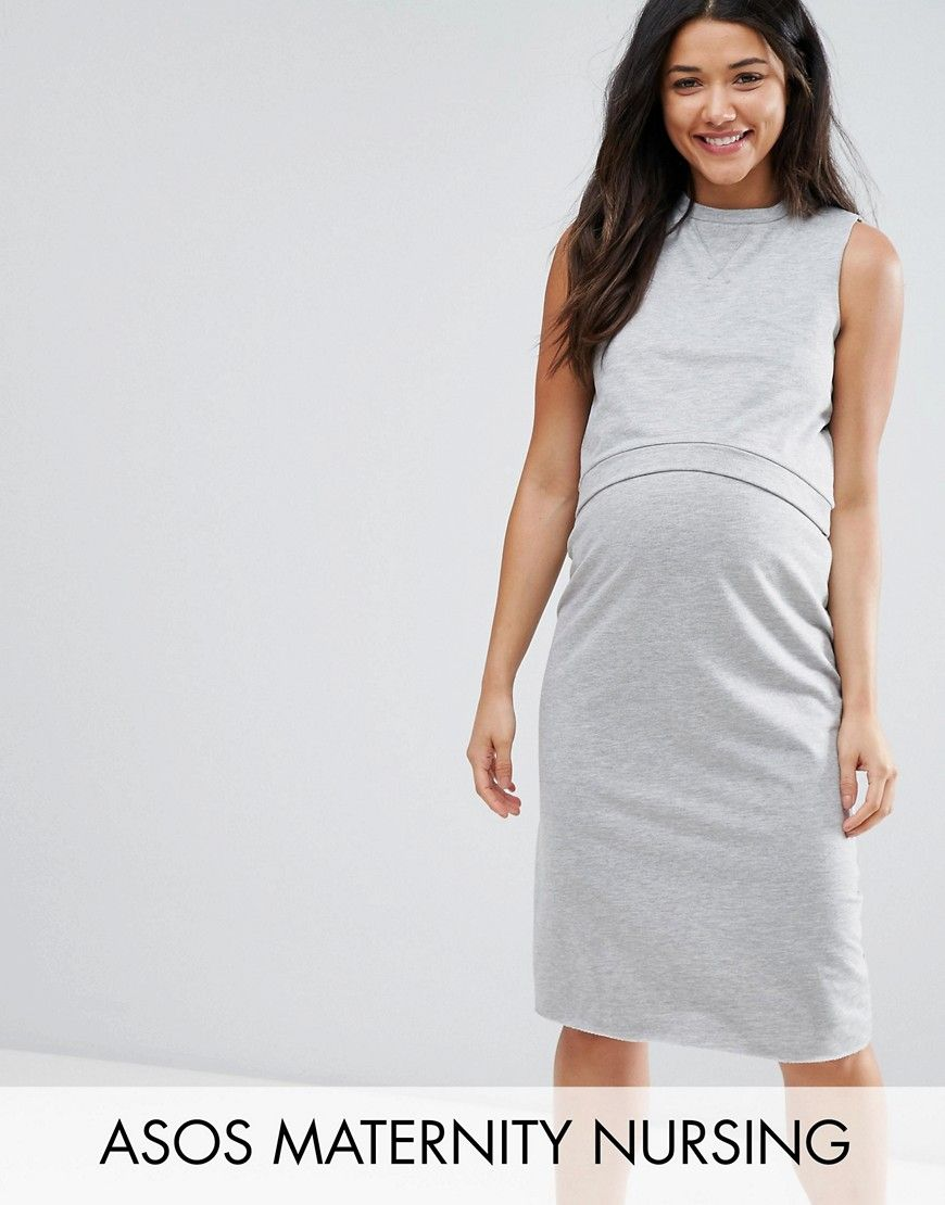 Asos maternity nursing double layer sweat dress gray baby mama
