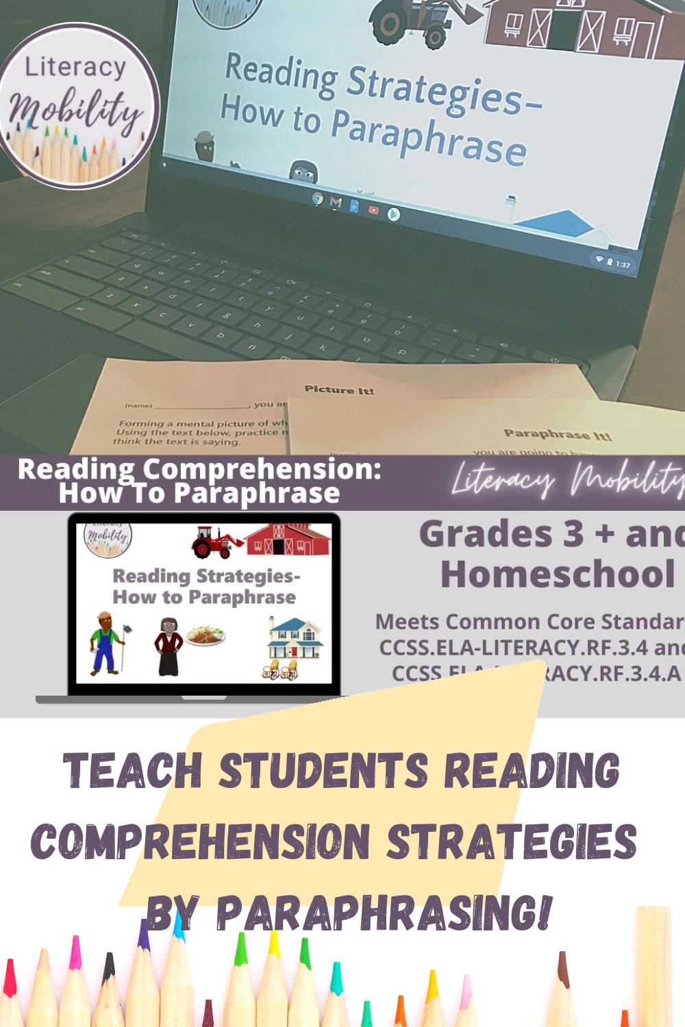 Reading Strategie How To Paraphrase Powerpoint And Worksheet Set Comprehension Skill Strategies Paraphrasing For Third Grade
