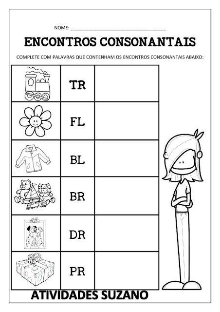 EXERCÍCIOS ENCONTROS CONSONANTAIS | Encontros consonantais