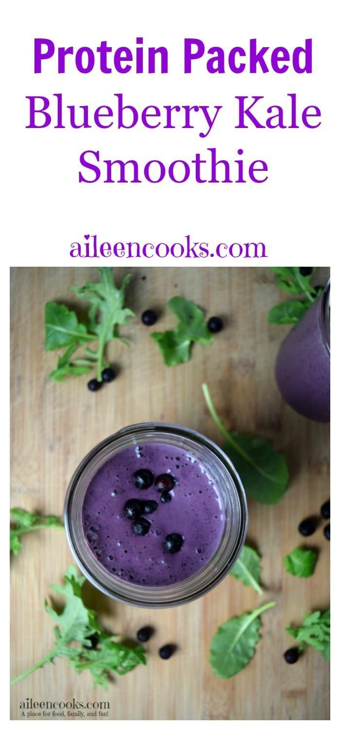 Protein Packed Blueberry Kale Smoothie - Smoothies -