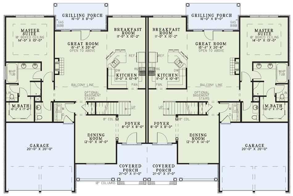 Main Floor Duplex House Plan Ndg 984 Cambridge Court 2 244 Sq Ft 4 Bed 2 5 Bath Duplex House Plans Family House Plans House Plans