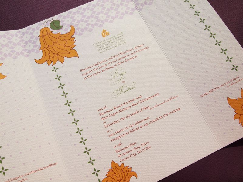 Floral Indian Wedding Invitation - Inside the gatefold invite ...